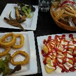 Grilled fish, Calamari, Patatas Bravas