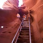 One of the steepest ladders at Lower Antelope Canyon. Appreciated the handrail