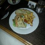 Chicken Club sandwich ordered via Room Service (fries, garden salad or caesar).