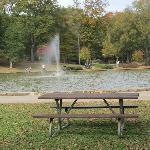 Pic-nic Table with Fountain in the Background