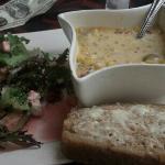 corn chowder and salad