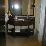 Large bathroom with nice tub/shower combo.  Toilet is in sepeate room