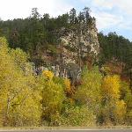 Rock faces and autumn trees in Spearfish
