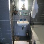 small but clean/modern bathroom