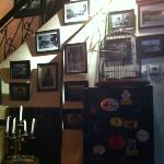 two birds who live downstairs. great photos on wall and the choice of background music is fantas