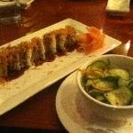 Cucumber Salad and Shrimp Tempura Roll