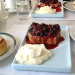 A part of Crespin brunch: tosts with cream and berries