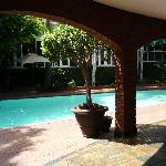 My view of the pool from my outdoor seating area