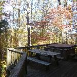 Picnic table and hot tub on the deck