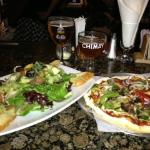 Artichoke and Heirloom Tomato salad with Roasted Veggie Pizza, and a flight of Belgium beers!