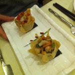 antipasto con verdure e frutti di mare