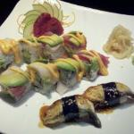 Tuna sashimi, eel nigiri and a ??? roll.
