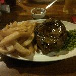 Steak, Chips, Peas and a pint for £6.95 - they are not small portions