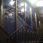 Stained glass on central stairway