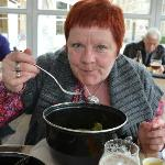 Wife with pot of Mussels