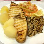 Swordfish with boiled potatoes and salad
