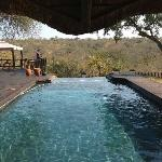 view from the lodge over the pool
