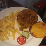Veggie burger - more of a stew (over spiced) on bread. 'salad' =1 slice tomato, 2 slices cucumbe