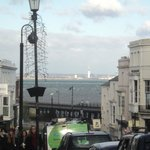Ryde High Street - with a view to the Spinnaker Tower in Portsmouth in the far distance.