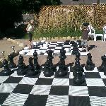 The huge checker & chess sets.