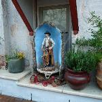 """Saint Cowboy"" in the courtyard"