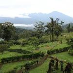 French Garden and cloud covered Mnt. Arenal