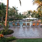 Looking from the beach towards the pool and resort entrance.