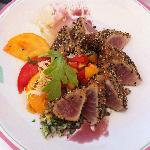 seared tuna with sesame crust and heirloom tomato salad. it was good.