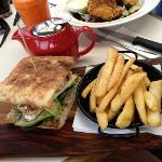 Chicken, avocado & brie on Turkish bread......with chips of course! :)