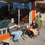 My wife and brother outside Chapters. Best traditional espresso drinks in Newberg