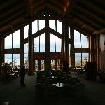 The entrance/lobby is also a games room.  Lofty ceilings, fireplace and enormous wood beams.