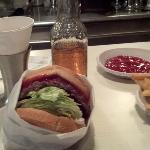 Hickory burger, vanilla cream soda & fries.