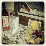 Welcome cheese plate and wine for Girls Night package