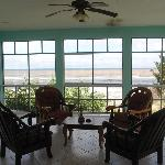 Screened porch overlooking the sea