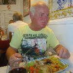 Dad eating the amazing chicken piri piri