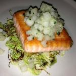 Salmon - perfectly cooked and served w/ delicious brussel sprouts