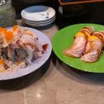 Shrimp Tempura roll and Seared Salmon delicious!