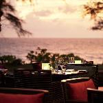 Pesto outdoor seating next to the beach