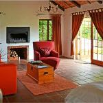 The sitting room area with wide screen DSTV and fireplace