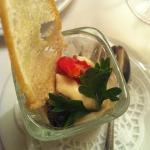 Комплимент от повара: мусс из сельдерея с пастой из оливок и вяленым томатом
