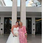 me and my mum outside the hotel