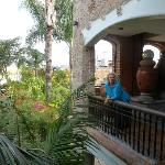 That's me on the balcony looking down toward my ground floor room