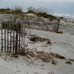 End of boardwalk next to hotel - beach access.