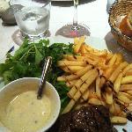 rum steak with bleu cheese sauce