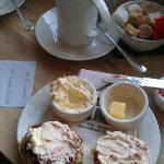 yummy scone and hot chocolate