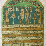 Wooden Stele, Ptolomaic Period, 332-330 BC, Solar Disk with Wings, Figures Worshiping Gods, Text
