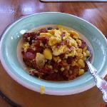 Ackee & bacon!! From athe tree at Ms Una's home.
