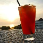 welcome drink over sunset
