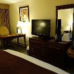 Desk, flat panel, mini-refrigerator, free high speed internet