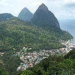 Both Piton Peakes with the town of Soufriere below